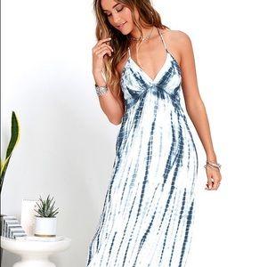 Shibori Sunstreak Blue Tie-Dye Maxi Dress